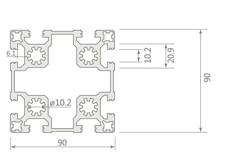 欧标铝型材JL-10-9090EB